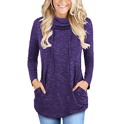 Womens Long Sleeve Cowl Neck Casual Sweatshirt Tops with Pockets -
