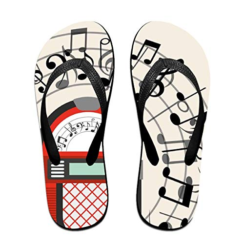 Funny Summer Flip Flop, Cartoon Antique Old Vintage Radio Music Box Party with Notes ArtworkFor Children Adults Men and Women Beach Sandals Pool Party Slippers Black
