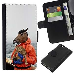EJOY---Tirón de la caja Cartera de cuero con ranuras para tarjetas / Apple Iphone 5C / --Caballo y gato divertido Meme Yolo Lol Wtf Troll