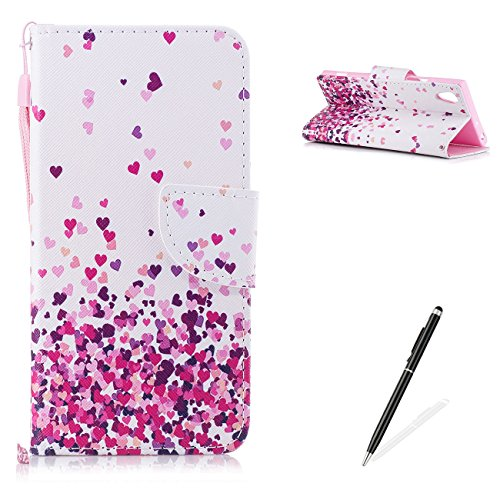 Grenache Rose - MAGQI Sony Xperia XA1 PU Premium Leather Phone Cases, Flowers Panda Unicorn Cartoon Pattern Design Cover and [Scratch Proof] Flexible For Sony Xperia XA1 Flip Wallet Shell-Pink Heart