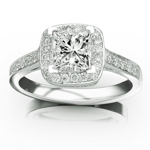 0.73 Carat 14K White Gold Classic Square Halo Single Row Pave Set Diamond Engaement Ring with a 0.5 Carat Moissanite Center