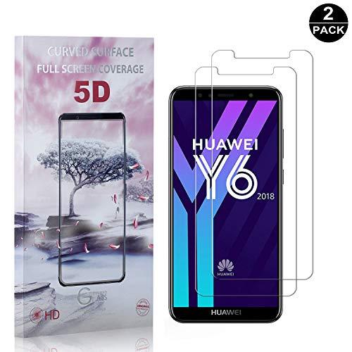 Bear Village® Displayschutzfolie für Huawei Y6 2018, Anti Fingerabdruck, Keine Luftblasen, 3D Touch 9H Schutzfilm aus Gehärtetem Glas für Huawei Y6 2018, 2 Stück