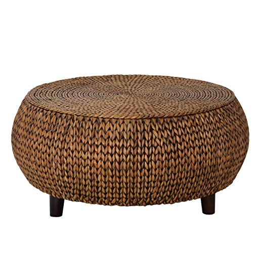 Round Coffee Table - Woven Banana Leaf Accent Cocktail Table - Drum Shaped Design (Gold Patina)