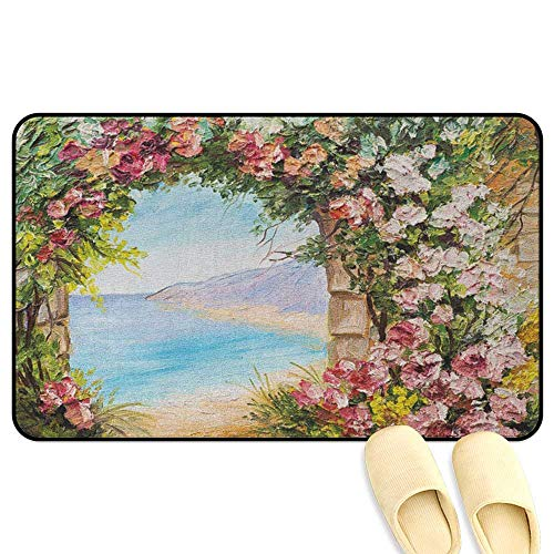 homecoco Art Kitchen Mats Old Antique Arch Covered by Rose Petals Branches Romantic Italian Panorama Sea Print Multicolor Indoor/Outdoor/Front Door/Bathroom Mats Rubber Non Slip W47 x L59 INCH