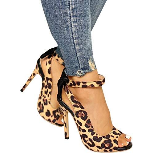 Womens Leopard Bowknot Stilettos Ankle Strap Peep Toe Slingback Thin High Heels
