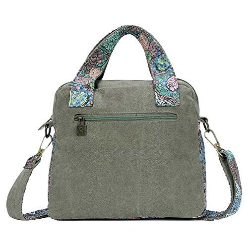 Vintage Mujer bandolera impresión para Win8Fong bolsa con bandolera de de lona bolso de Verde Retro bolsa flores de estampado lienzo de con colibríes de de y diseño viaje EqA66txwH