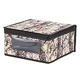 InterDesign Woodland Camouflage Fabric Closet Storage Organizer Box – Medium, Forest/Black