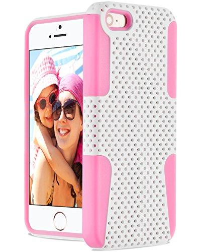 Fosmon HYBO Mesh Entwurf Hybride Case Cover hülle für iPhone 5 / 5s / SE - Weiß /Rosa