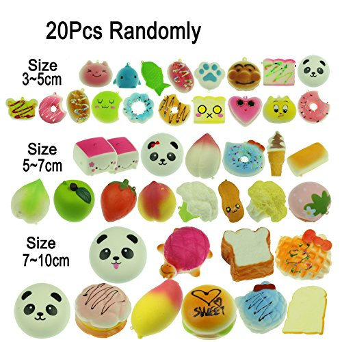 LEMO 20pcs Kawaii Soft Foods Panda Bun Toasts Multi Donuts Cell Gift Phone Chain (Bun Play Food)