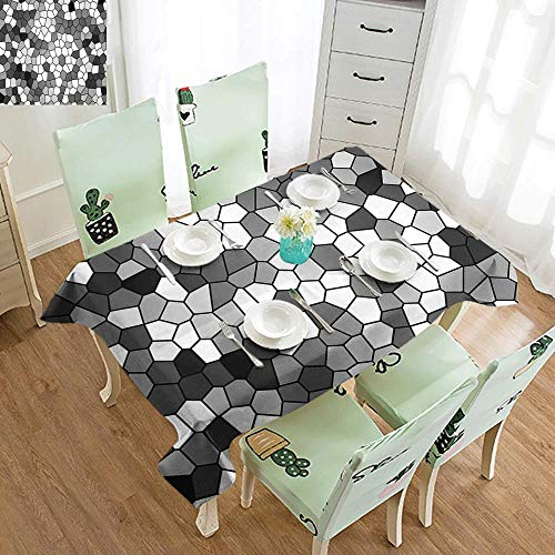 DILITECK Wrinkle Resistant Tablecloth Grey and White Stained Glass Pattern with Abstract Composition Mosaic Excellent Durability W70 xL94 Charcoal Grey White and Grey