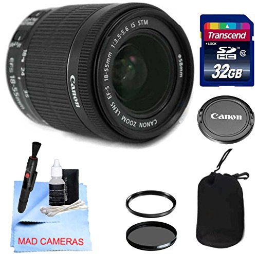 Canon Lens Kit With Canon 18-55mm f/3.5-5.6 STM Standard Zoom Lens (58mm Thread) + 32 GB Transcend SD Card- for Canon DSLR Cameras