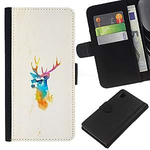 KLONGSHOP // Tirón de la caja Cartera de cuero con ranuras para tarjetas - Elk ciervos Pimp - Sony Xperia Z1 L39 //