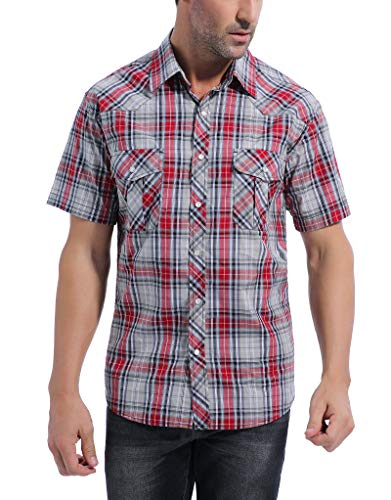 Coevals Club Men's Button Down Plaid Short Sleeve Work Casual Shirt (Red & Gray #22, XXL)