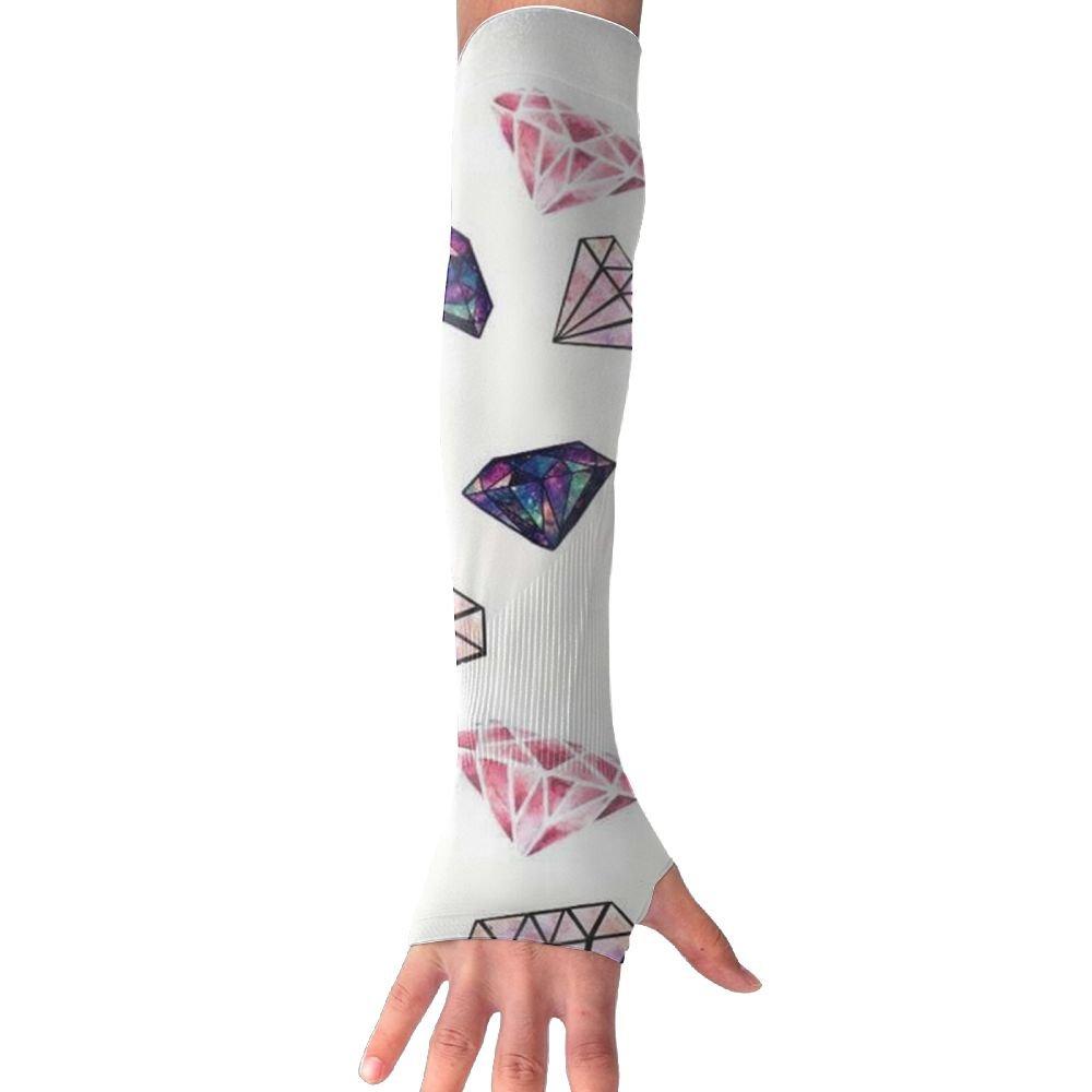 NUNOFOG Diamonds Unisex Summer Arm Cover Sleeves Long Fingerless Sun-proof Anti-UV Long Gloves For Outdoor