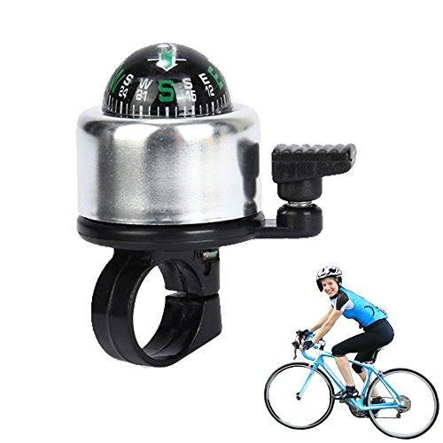 - FuzzyGreen Bicycle Handlebar Bell, New Compass Design Premium Quality Aluminium Alloy Mini Bicycle Handlebar Bell Ring Horn (Silver)
