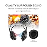multifun Gaming Headset with Mic, Wired LED Gaming Headset , Self-Adjusting Headband Gaming Headset 3.5mm Noise Isolating for PS4 Xbox ONE Laptop PC Computer Games with Splitter Cable-Black