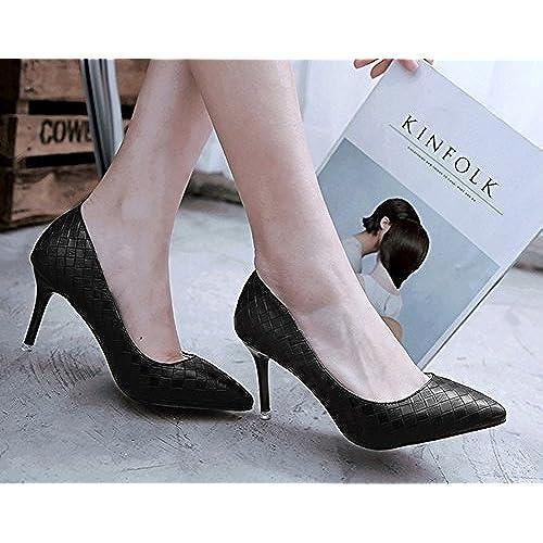 DYF Chaussures Femmes Bottes Courtes Couleur Solide Forte Rough High Heel Knitting,Black,35
