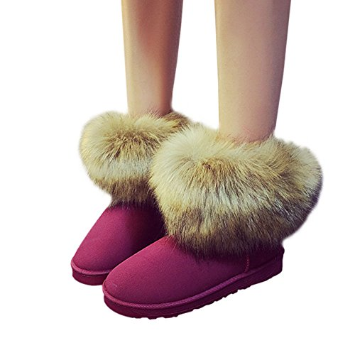 Snow Ankle Casual Faux Winter Warm Hzjundasi Flat Ladies Women Fur Boots Shoe Fluffy Comfy Red wtqIgCF