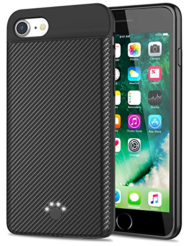 [Upgraded] iPhone 8/7 Battery Case,Emishine 3000mAh Ultra Slim External Battery Case for iPhone 8/7 / 6 / 6S, Portable Charging Case Charged by Lightning Cable (Black-4.7)