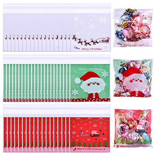 - Coopay 300 Pieces Christmas Candy Bags Cookie Bags Self Adhesive Cellophane Treat Bags with Snowflake Christmas Elk Patterns for Party Supplies, 3 Styles
