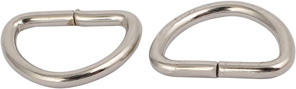 uxcell 10mm Inner Width Metal Half Round Shaped Non Welded D Ring Silver Tone 20pcs