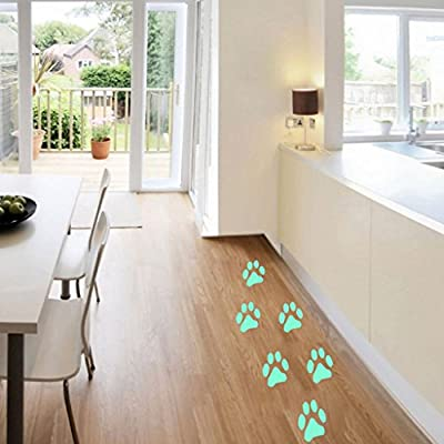Yeahii Luminous Dog Footpint Wall Sticker Decoration Living Room Children Room Decor: Home & Kitchen