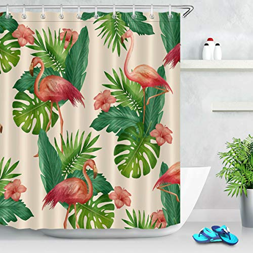 youyoutang Exotic Tropical Green Leaves Flamingo Floral Fabric Shower Curtain 3D High-Definition Printing Does Not Fade 12 Shower Hooks 70.8X70.8 Inch Home Decor Bathroom Accessories