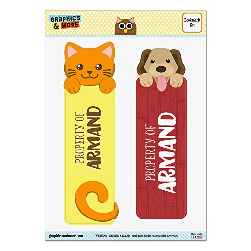 Set of 2 Glossy Laminated Cat and Dog Bookmarks - Names Male Ar-Ay - Armand Armand Paper