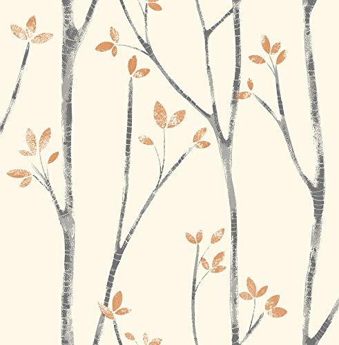 Brewster UW24775 Ingrid Scandi Tree Wallpaper, Orange