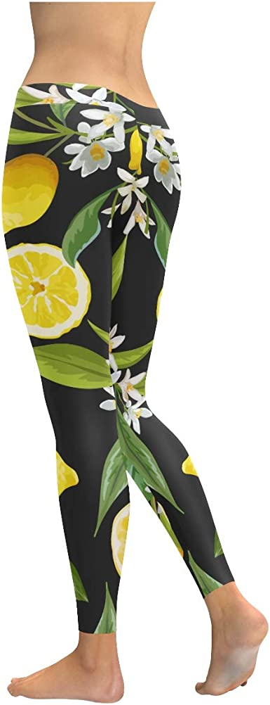 Pink and Yellow Yoga Leggings Kawaii Food Fruit Lemon Orange Print Fitness Tights Exercise Pants Quirky Stretch Bottoms