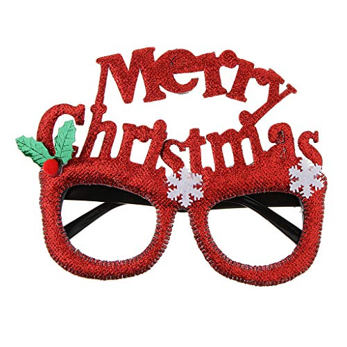 - Prettyia Glitter Merry Christmas Snowflake Sunglasses Novelty Glasses Xmas Party Favors - Red, as described