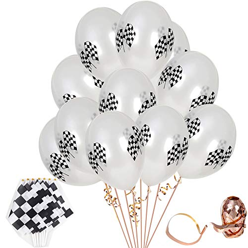Racing Decorations, 40Pcs checkered Flag Black& White Racing Flag 8 x 5.5 Inch Banner Polyester Flags with Plastic Sticks And 40Pcs Checkered Racing Flags Latex Balloons Race Car Latex BalloonsFor