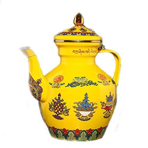 Cheftor 2.5 qt Enameled Steel Tibetan Buddhist Style Coffee Pot Carafe Kettle with 8 Auspicious Tibetan Buddhist Symbols, Yellow