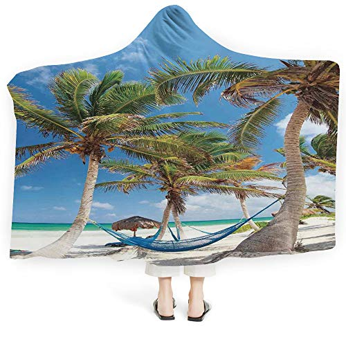 (iPrint Hooded Blanket House Decor Deluxe Blanket Relieves Anxiety Stress Agitation Collection Oriental Arts Snow Capped Mountain Fish Lake Waterlilies Butterflies (Adults 60