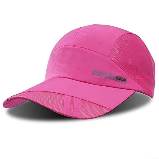 sports shoes 11e7d f47cb GADIEMKENSD Quick Dry Sports Hat Lightweight Breathable Soft Outdoor Run Cap  (Classic, Pink)