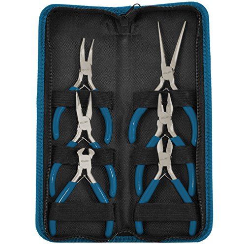 Delcast MB-6 Mini Pliers Jewelry Design, Beading and Repair Tool Kit with Case, 6-Piece