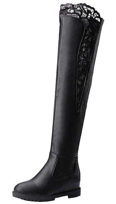 492ee8acd015 YE Confor Chaussures Longue Botte Cuissarde Femme Plate Botte en Dentelle  Chaude pour Hiver(Noir
