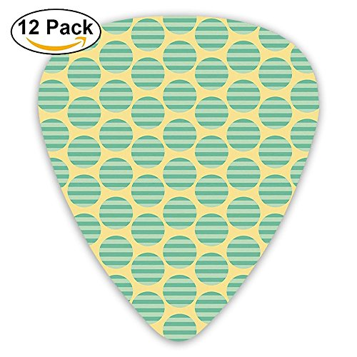 Newfood Ss Circular Comb Like Pattern On Striped Background In Green Tones Guitar Picks 12/Pack Set ()