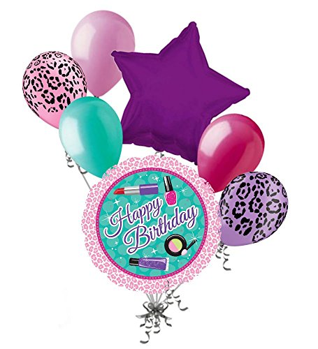 7 pc Diva Girl Vanity Make Up Happy Birthday Balloon Bouquet Party Decoration (Happy Balloon Bouquet Birthday)