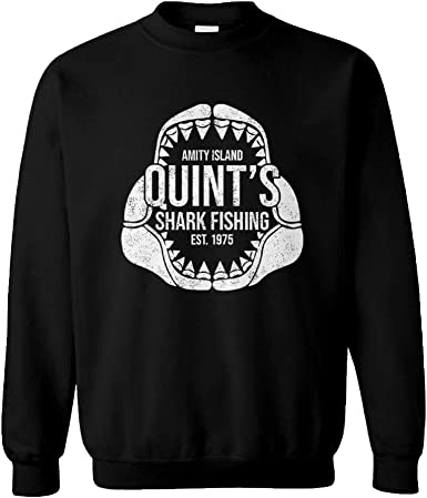 Quints Shark Fishing Kids Unisex Cotton Long Sleeve Round Neck Pullover