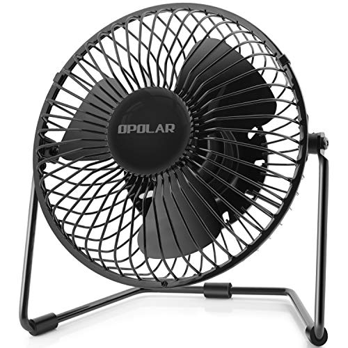 OPOLAR 5-Inch USB Desk Fan, Portable Mini Personal Fan with Two Speed-Settings, Super Quiet, Metal Design, 360° Up and Down, Perfect for Home, Office (Twin Turbo Fan)