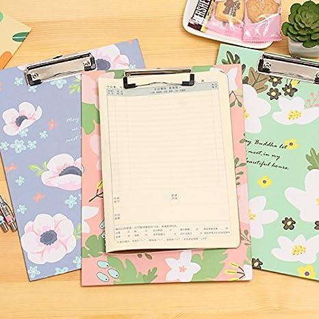 JUNGEN Floral File Clipboard File Clip Folder File Organisers File Storage File Holder Document Wallets Office Supplies 22 31cm Purple