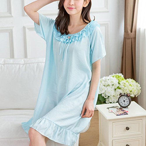 Zhhlaixing Women's Cotton Sleepwear Long Sleeve Vintage Nightgown Blue