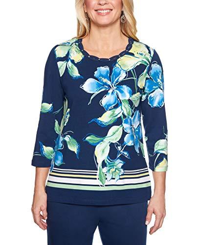 Alfred Dunner Women's Cote D'Azur Border Stripe Floral Top (Medium) Navy