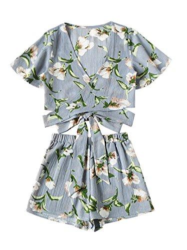 SweatyRocks Women's 2 Piece Boho Floral Print Crop Cami Top with Shorts Set Blue_Flower X-Large