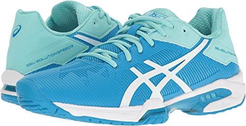 ASICS Women's Gel-Solution Speed 3 Tennis Shoe, Aqua Splash/White/Diva Blue, 5 M (Court Iii Tennis Shoe)