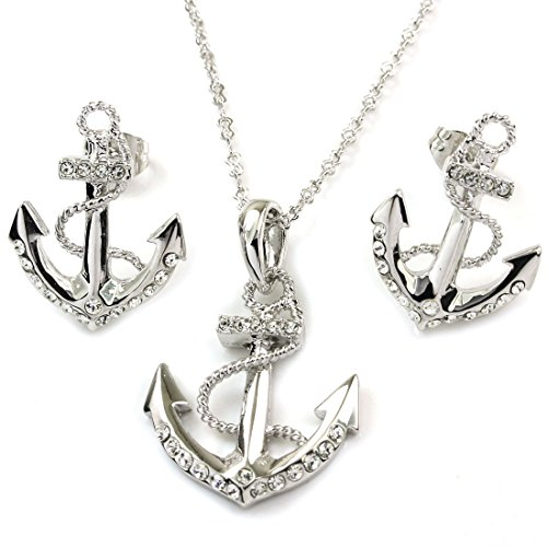 FC JORY White Gold Plated Crystal Diamante Anchor Necklace Earrings Studs Jewelry Set