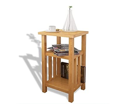 Genial Oak Side Table Solid Wood Bedroom Furniture Small End Wooden Coffee Hallway  Hall Lamp Plant Telephone
