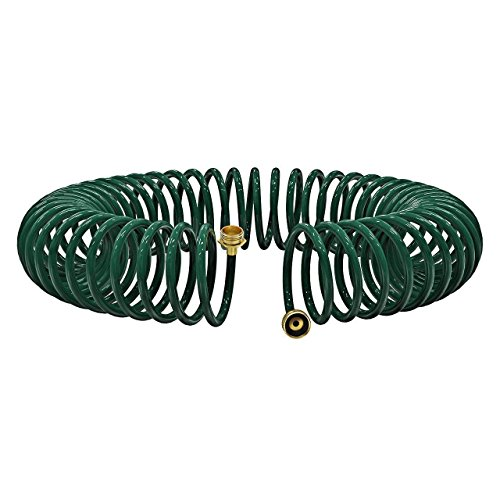 (VicTsing Expandable Garden Coil Hose, 50Ft Stronger Lightweight Expanding Heavy Duty Hose with Solid Brass Connectors for Daily Gardening, General Cleaning, Car Washing, and Pet Showering)