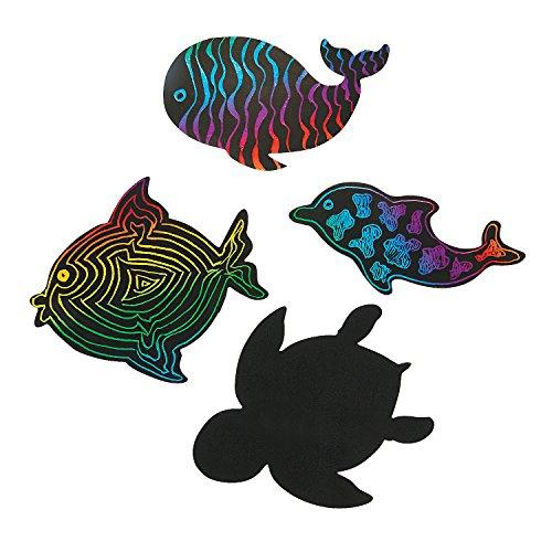 Fun Express - Sea Life Magic Scratch Shapes for Summer - Craft Supplies - Magic Scratch - Shapes & Paper - Summer - 24 Pieces